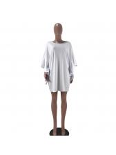 Euro Crew Neck Ruffled Sleeved White Dress