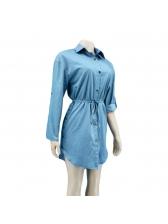 Fashion Solid Button Up Denim Shirt Dresses