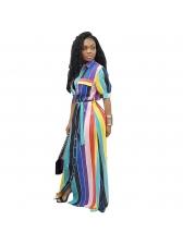 Fashion Color Block Striped Smart Waist Maxi Dresses
