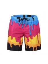 Characteristic Splash Ink Print Beach Pants Men