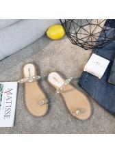 Easy Matching Toe Loop Beading Beach Slippers