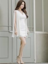 Fashion Ladies V Neck White Dress