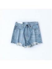 Summer Pockets Irregular High Waist Denim Shorts