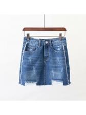 Stylish Patchwork Pockets Denim Skirt For Women