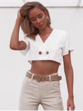 Simple Design Button V-Neck Cropped Blouse