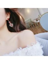Hot Sale Colorful Rhinestone Heart Decor Long Earring
