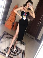 Sexy Low-Cut Printed Split Hem Strapless Dress