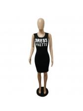 Fashion Crew Neck Letter Bodycon Dresses