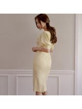 Faux Pearl Decor Draped Short Sleeve Dress