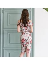 Off Shoulder Bodycon Floral Dresses