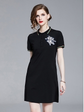 Pig Embroidery Turndown Collar Short Dress