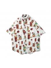 Chic Printed Turndown Neck Vacation Men Shirt