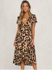Fashion Leopard Print V Neck Midi Dress