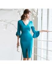 V Neck Ruffled Sleeve Bodycon Dress