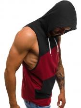 Contrast Color Versatile Hooded Tanks For Men