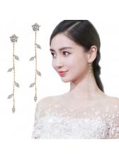 Fashion Zircon Leaves Drop Earrings