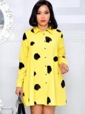 Single-Breasted Dots Loose Long Sleeve Dress