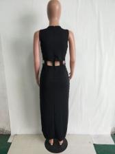 Sexy Hollow Out Studded Decor Split Hem Maxi Dress