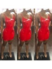 Sexy Backless Pu Sleeveless Bodycon Dress
