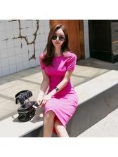 Summer Round Neck Short Sleeve Slim Rose Dresses