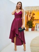 V Neck Backless Irregular Hem Solid Evening Dress