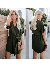 Hot Sale V Neck Tie-Wrap Solid Short Sleeve Dress