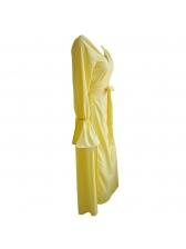 V Neck Large Hem Tie-Wrap Asymmetrical Maxi Dress