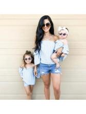 Off Shoulder Striped Strap Family T-Shirt Sets