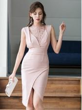 Korean Design Slit Lace Panel Blush Sleeveless Dresses