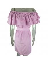 Off Shoulder Ruffled Striped Short Sleeve Dress