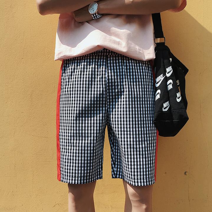 Fashion Contrast Color Plaid Half-Length Pants
