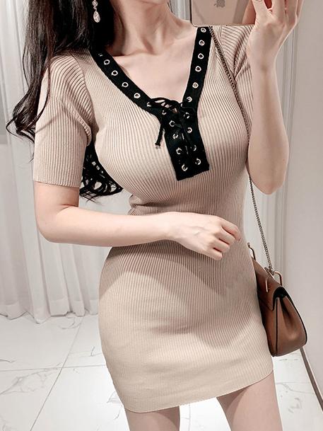 V Neck Patchwork Tie-Wrap Knitting Dresses