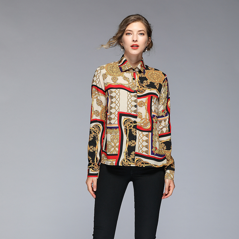 Retro Printing Turndown Collar Button Up Blouse