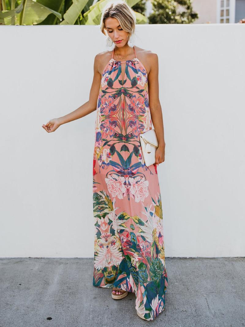 Summer Flower Tie-Wrap Halter Maxi Dress