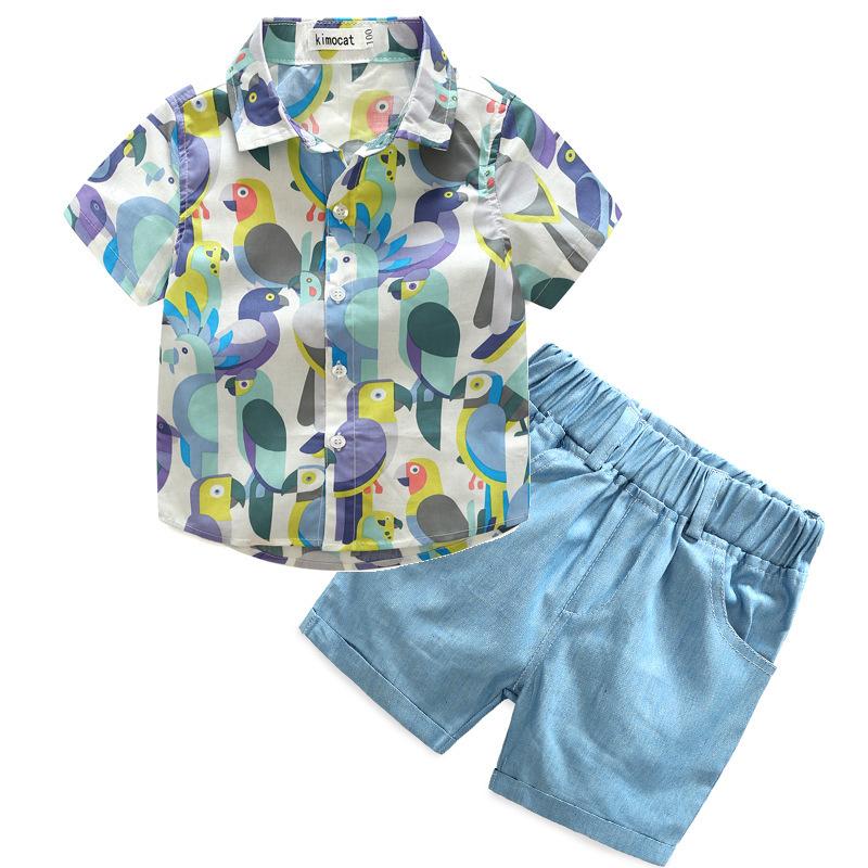 Turndown Neck Bird Patchwork Boys Chic Outfit