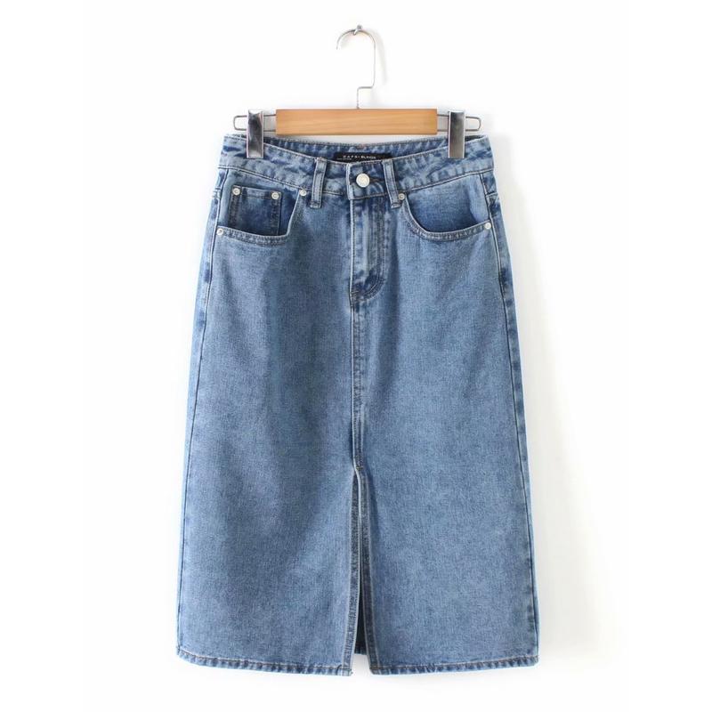 Vintage Style Split Hem Denim Short Skirt