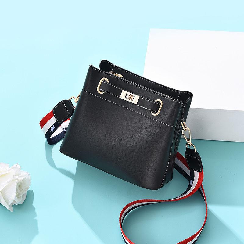 Twist Lock Striped Wide Belt Bucket Bag