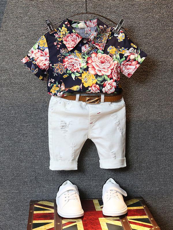 Turndown Neck Flower Boys 2 Piece Pants Set