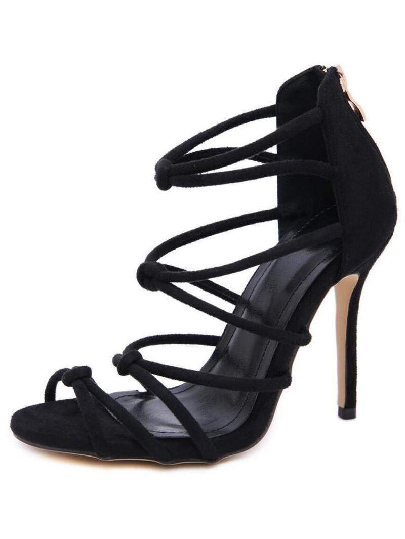 Sexy Suede Thin Heel Strappy Black Sandals