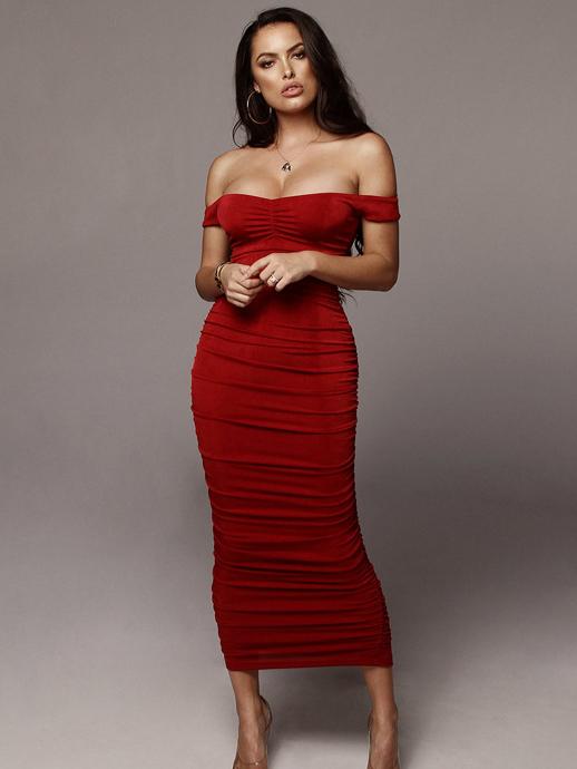 Off Shoulder Pleated Short Sleeves Evening Dress
