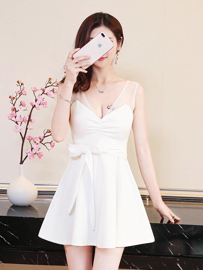 Gauze Patchwork Tie-Wrap Sleeveless Dress