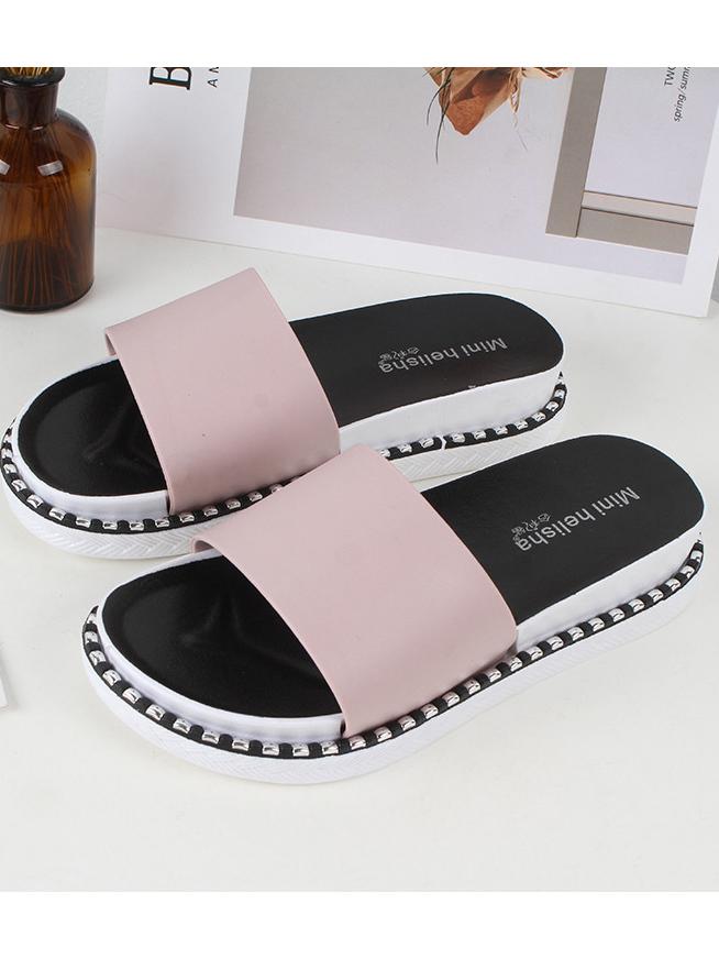 Cozy Solid Slide Slippers For Women