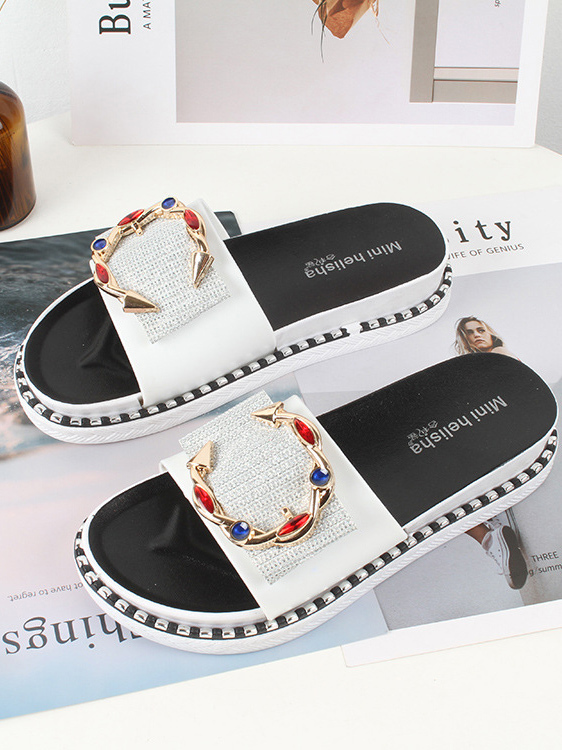 Easy Matching Diamond Patchwork Outdoors Slide Slippers