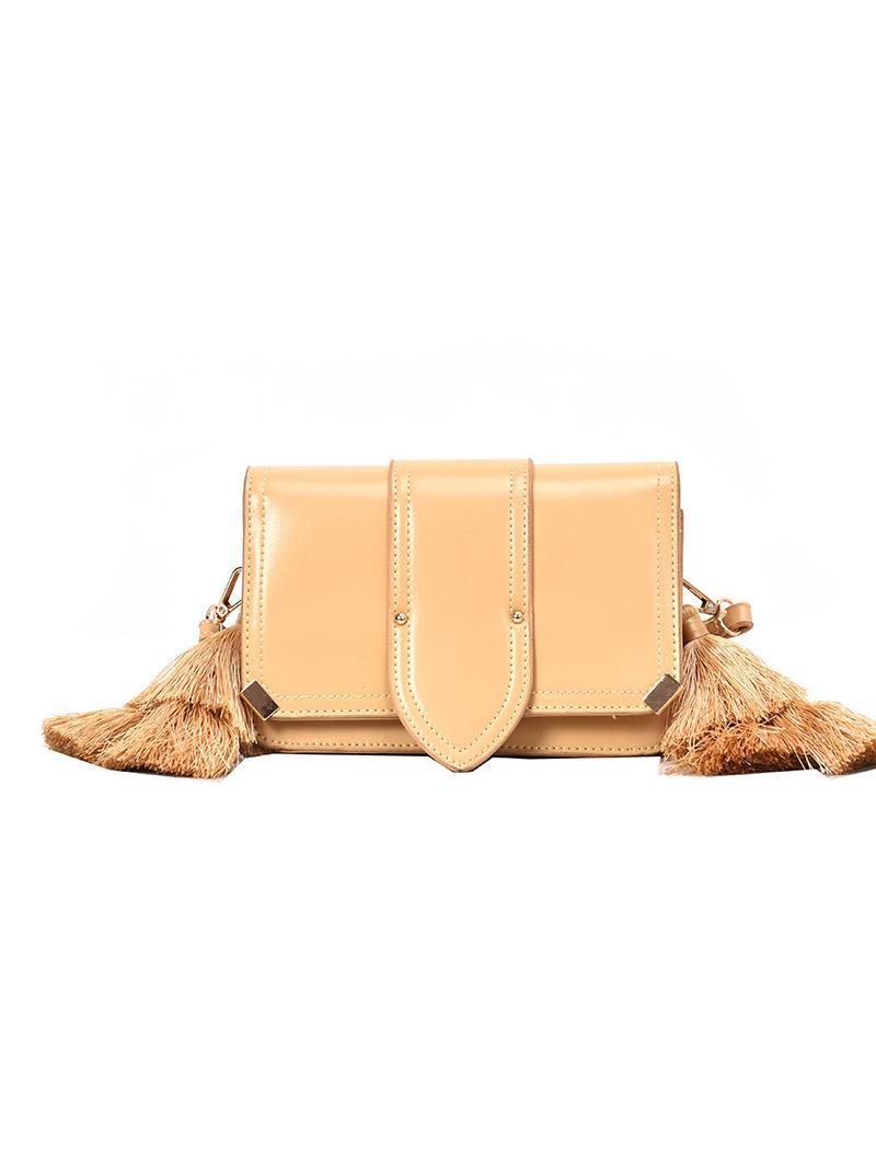 Tassel Decor Solid Square Crossbody Bag