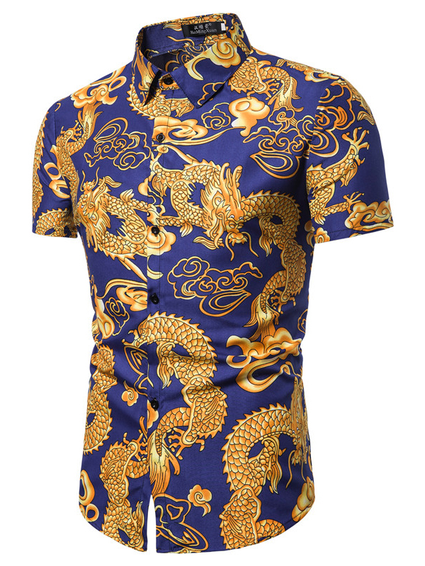 Chinese Style Dragon Printed Short Sleeves Shirt For Men