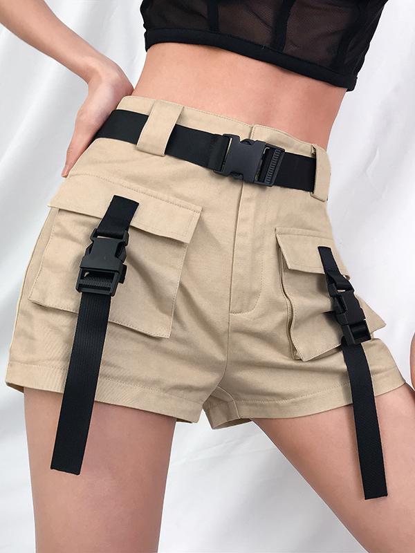 Fashion Pockets Belt Lock Shorts For Women