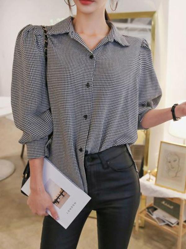Plaid Turndown Collar Button Up Blouse