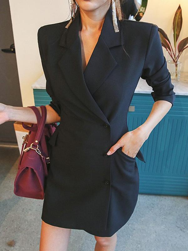 Office Ladies Lapel Slim Fit Long Blazer