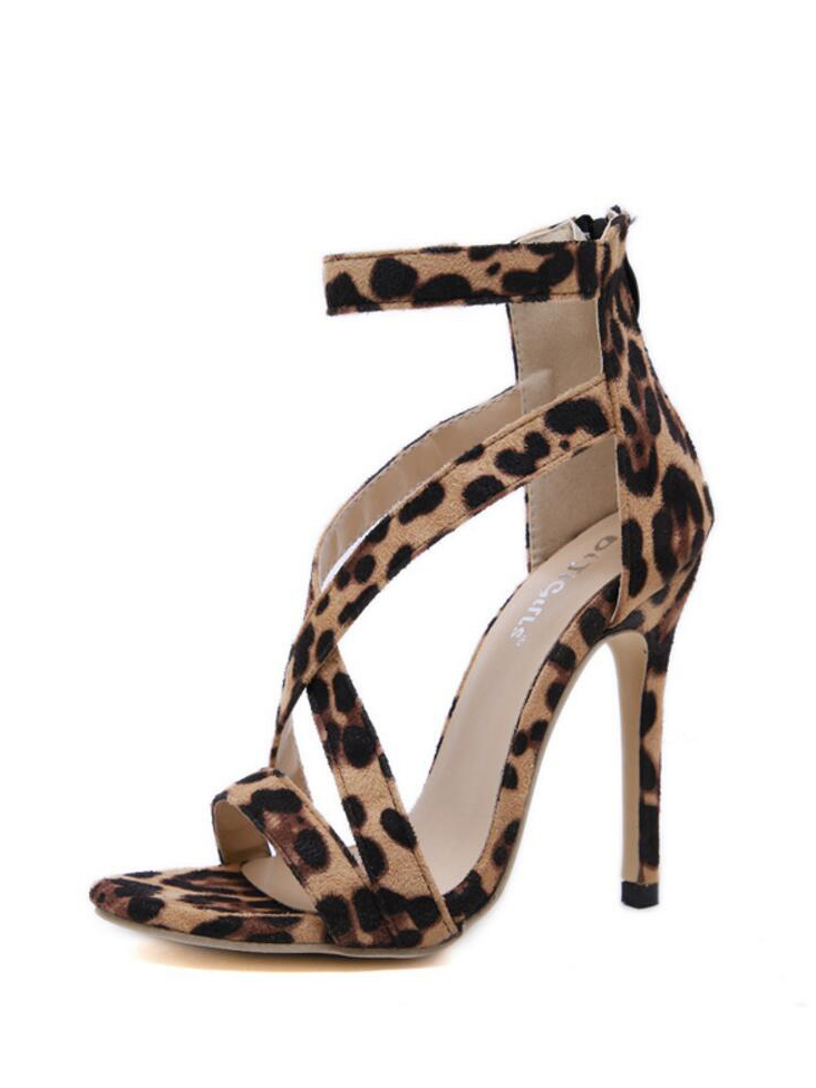 Summer Leopard Print Zipper Sandals For Women