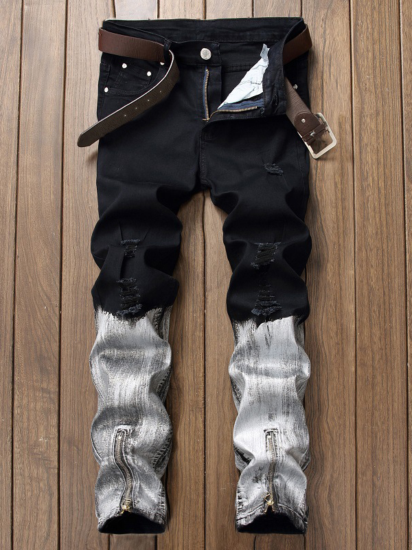Stylish Contrasting Colors Zipper Ripped Jeans